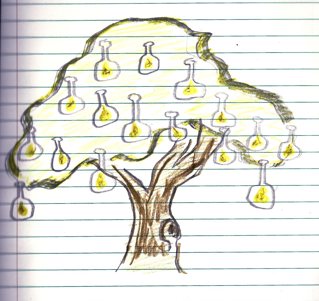 Sarah Brumble - Drawing of Imagined Bottled Pears Growing on Trees - Blog