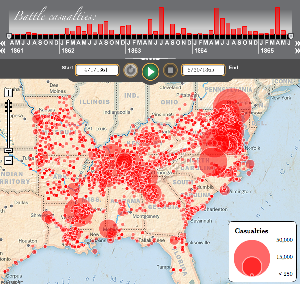 Interactive Map of US Civil War Deaths Casualties Battles - Washington Post
