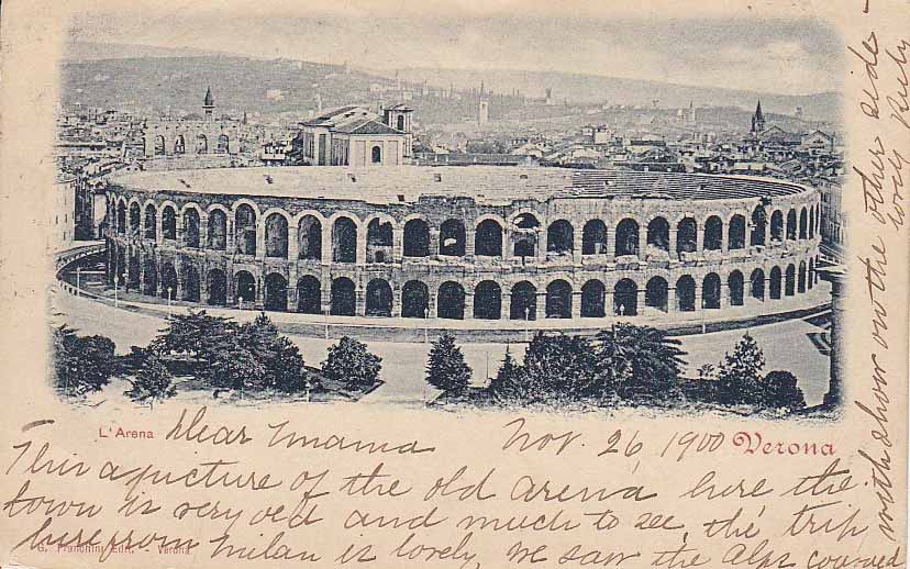 Verona L'Arena Postcard from 1900 - Atlas Obscura Post