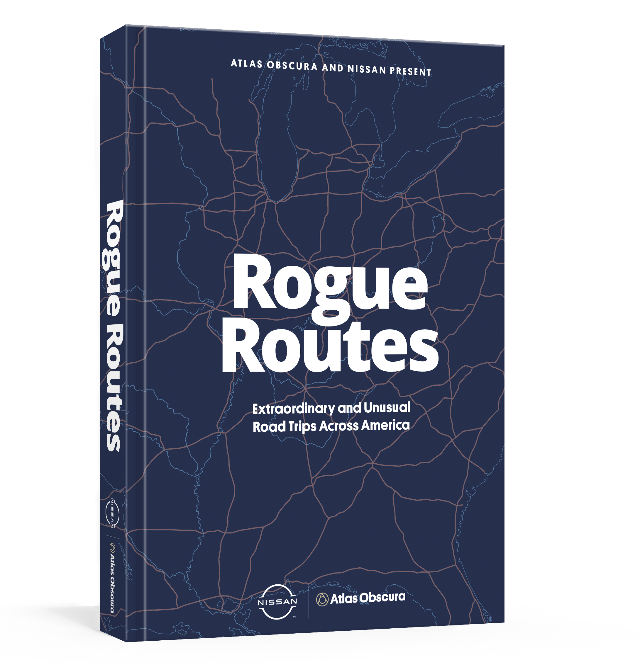 A 3D rendering of a book with a dark blue map on the cover titled Rogue Routes.